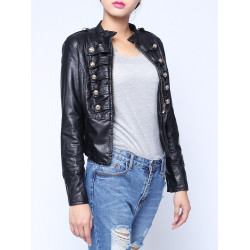 PU Leather Metal Double Breasted Zipper Jacket Coat