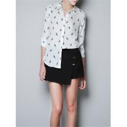 Pattern Parrot Rivet Adjustable Long Sleeve Chiffon Shirt