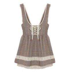 Plaid High Waist Suspender Puff Skirt