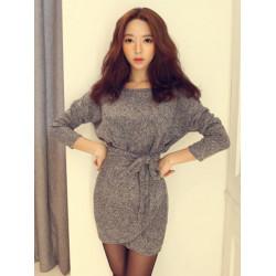 Plus Size Women Loose Gray Long Sleeve Wrap Dress With Belt