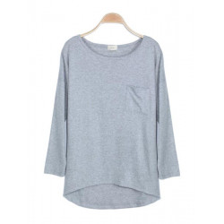 Pocket Soild Color O-Neck Long Sleeve Bottoming T-Shirt