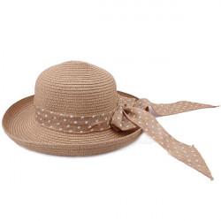 Polka Dot Bowknot Banded Rolled-up Brim Straw Hat