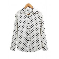 Polka Dot Printed Chiffong Button Långärmad Lapel Toppar Blus