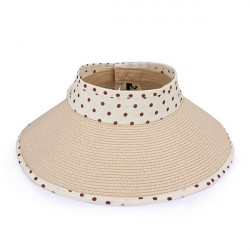 Polka Dot Ribbon Hopfällbar Raffia Hat Solhatt Föräldrar och Barn Hat