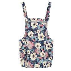Trykt Blomster Blå Farve Nederdel med Skulderstropper Kort Nederdel