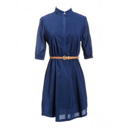 Pure Color Half Sleeve Stand Collar Chiffon Dress with Belt