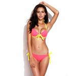 RELLECIGA Självlysande Orange Färg Bikini Halter Top Set Damkläder