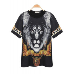 Red Eye Lion Joker Poker Par Printing T-shirt