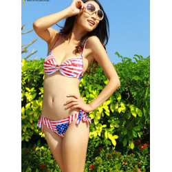 Red Stripe USA Flag Printed Bathing Swimwear Bikini Set With Removable