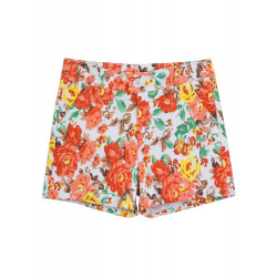Retro Chiffong Blomster Printed Hög Midja Shorts Byxor