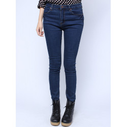 Retro Elastic Slim Blue Long Demin Jeans