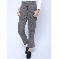 Retro High Waist Buttons Trousers Leisure Black Plaid Pants