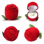 Romantic Velvet Rose Wedding Ring Box Earring Necklace Jewelry Box Women's Clothing