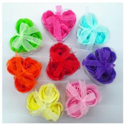 Rose Petal Flower Shape Bathe Mini Soap With Heart Box Wedding Gift