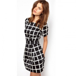 Round Neck Short Sleeve Plaid Mini Dresses Check Chiffon Dress