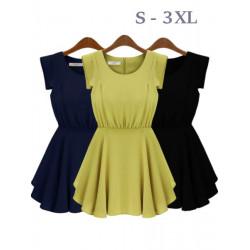 S-3XL Women Sleeveless Chiffon Dress Plus Size Round Neck Waist Dress