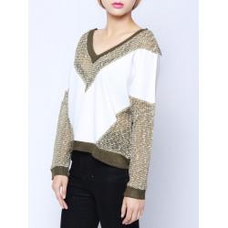 Sexy Mode Lose Splicing tiefem V Ausschnitt Langarm Blusen Hemden
