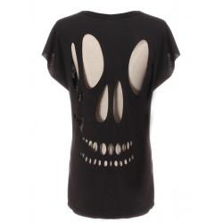 Sexy Mode Kvinna Flickor Novelty Hollow Skull Back T-tröja Överträffa
