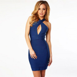 Sexy Hot Slim Low Cut Bodycon Mini Party Klänning Clubwear