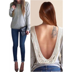 Sexy Hot Women Backless Long Sleeve Grey Cotton Blouse Shirts