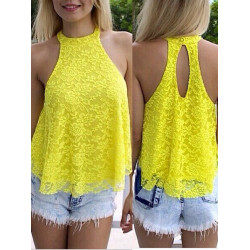 Sexy Hot Women Loose Solid Sleeveless Lace Halter Tank Top Blouse