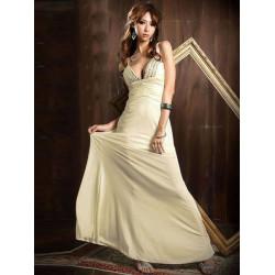 Sexy Damen Low Cut V Ausschnitt Riemchen Backless Juwel Lang Maxi Kleid