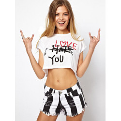 Sexy Letter Print Short Sleeve Cotton O-Neck T-Shirt
