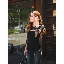 Sexig Slim Svarta Lace Skarvning Lång Muff Bomullsblus Tröjor
