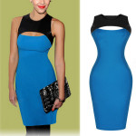 Reizvolle dünne Hohl Backless Sleeveless Bodycon Cocktail Abend Kleid Damenbekleidung