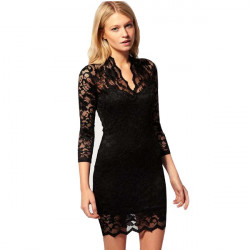 Sexy V Neck 3/4 Sleeve Lace Bandeau Slim Fitted Dress