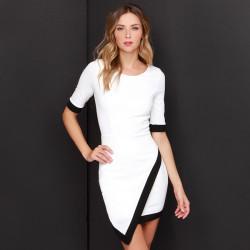 Sexy Women Asymmetrical Bud Irregular Short Sleeve OL Party Dress
