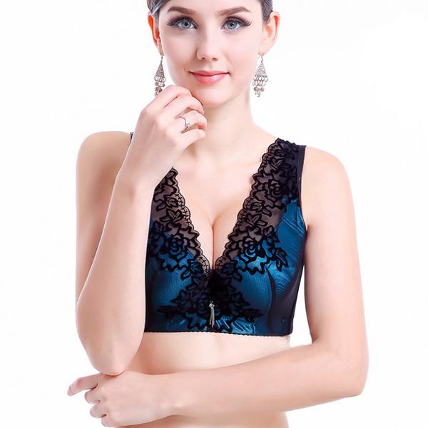 Sexy Kvinder Large Cup Push Up Lace Blomst Thin Bra Dametøj
