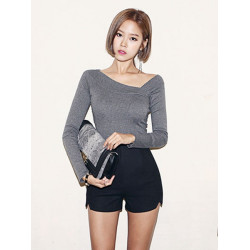 Sexy Women Oblique Neck Pullover Knit Crop Sweater Shirt