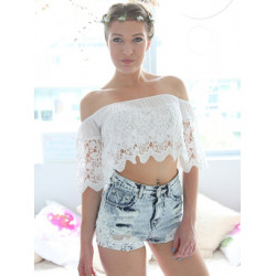 Sexy Women Off Shoulder Floral Lace Chiffon Crop Blouse