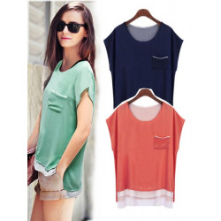 Short Sleeve Pocket Chiffon Blouse For Women Stitching Round Neck Shirts
