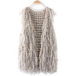 Ärmelloses Netzstrickgarne Quaste Cardigan Vest Sweater