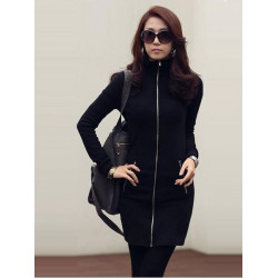 Slim Sexy Charming Zipper Stand Collar Long Sleeve Dress