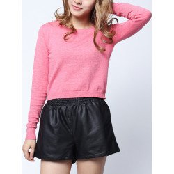 Soft Knitted Long Sleeve Round Collar Sweater