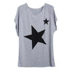 Sternchen Frauen Freizeit loser Kurzarm T Shirt