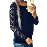 Stitching Lace Sleeve Virka Blus Rosa Stitching Hollow Sleeve Top Damkläder