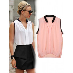 Street Sleeveless Chiffon Blouses Women Loose Tops Casual