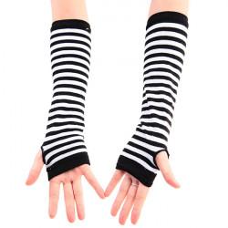 Stripe Fingerless Long Gloves Zebra Arm Sleeve