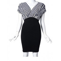 Stripe Stitching Folds Package Hip Dress