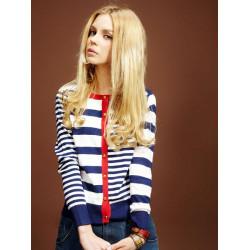Stripe Wave Casual Round Collar Sweaters Cardigan