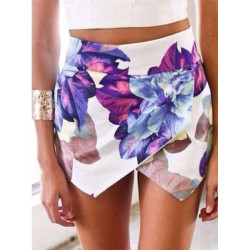 Sommar Asymmetric Blomster Print Hot Shorts Byxor