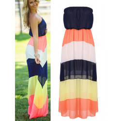 Summer Boho Stripe Strapless Women Chiffon Maxi Beach Dress