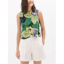 Summer Leisure Floral Printed Blouse Sleeveless Chiffon Short Vest T-shirt
