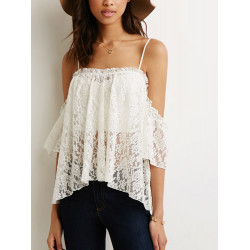 Summer Strap Open Off Shoulder Lace Blouse Tnak Tops Uregelmæssig Hem
