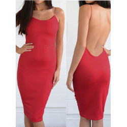 Sommer Frauen kleiden reine Bodycon Backless Bügel dünne Kniestrandkleid