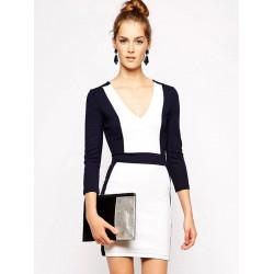 Symmetrical Waist Sheath Women Slim V Neck Hit color Dress Tube